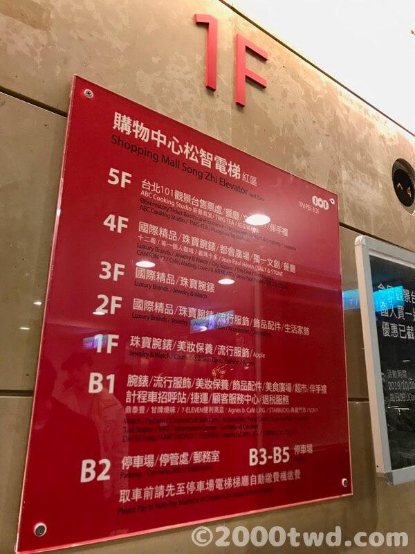 松智路側のエレベーターの案内表示